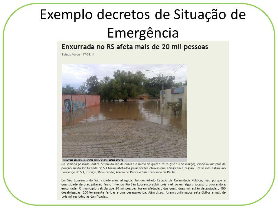 Exemplo decretos de Situação de Emergência