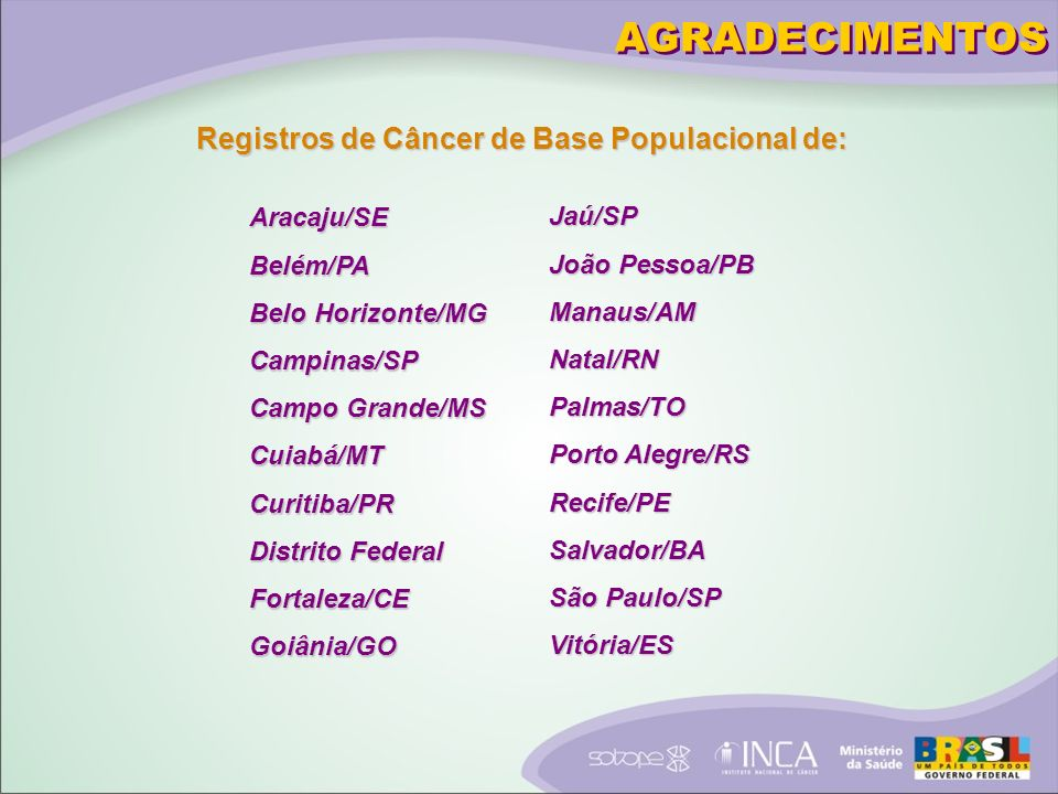 AGRADECIMENTOS Registros de Câncer de Base Populacional de: Aracaju/SE