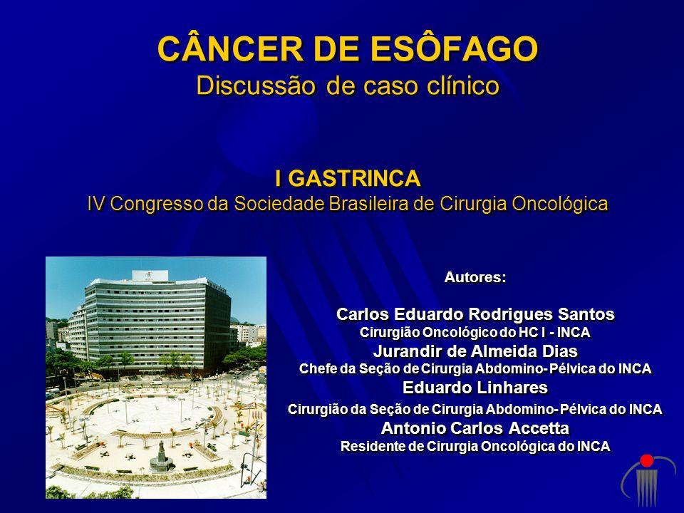 CÂNCER DE ESÔFAGO Discussão de caso clínico I GASTRINCA IV Congresso da Sociedade Brasileira de Cirurgia Oncológica