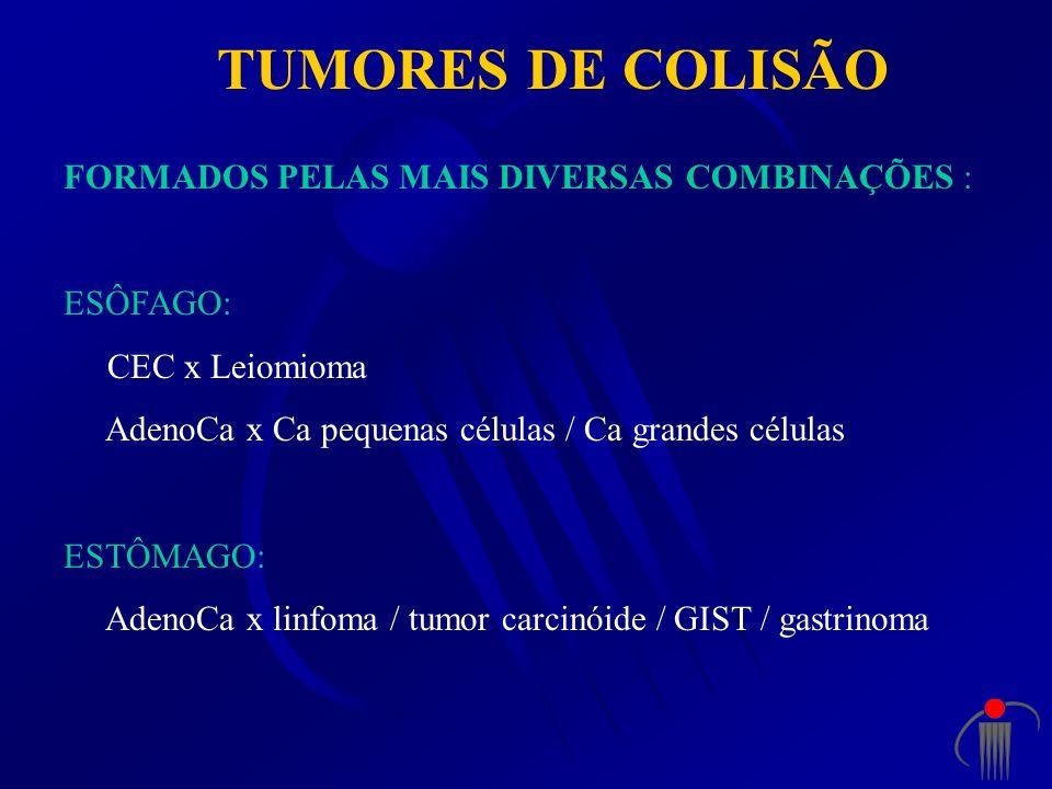 TUMORES DE COLISÃO FORMADOS PELAS MAIS DIVERSAS COMBINAÇÕES : ESÔFAGO: