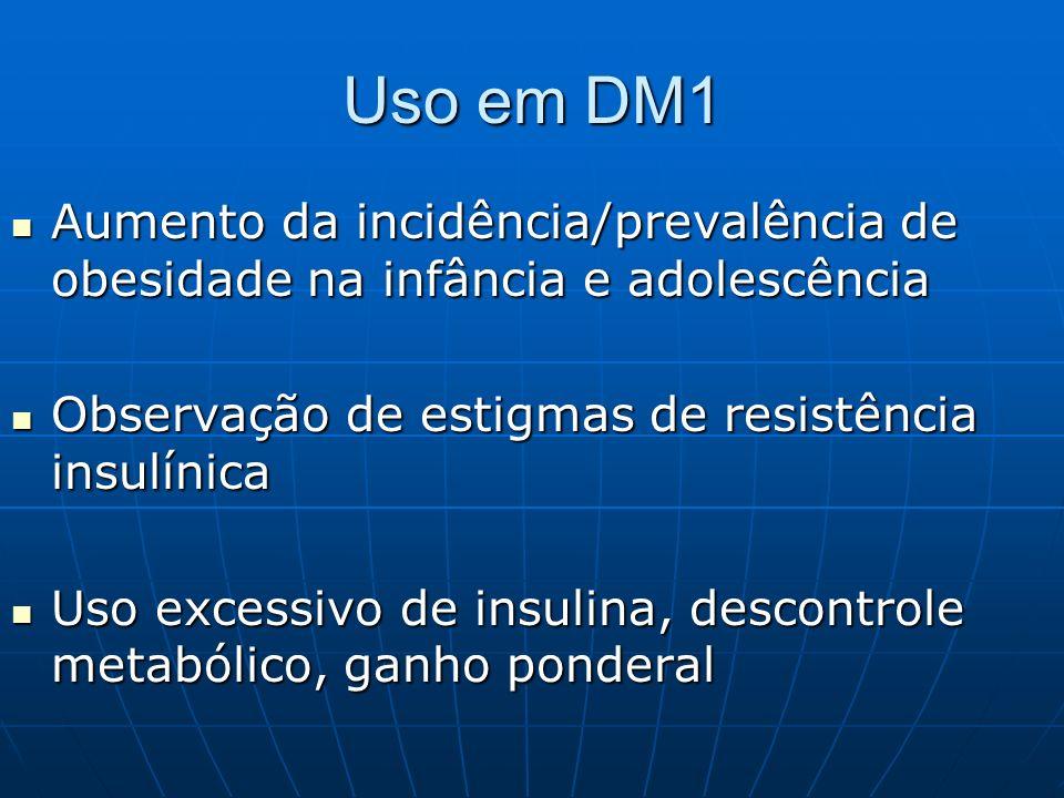 Uso em DM1 Aumento da incidência/prevalência de obesidade na infância e adolescência. Observação de estigmas de resistência insulínica.