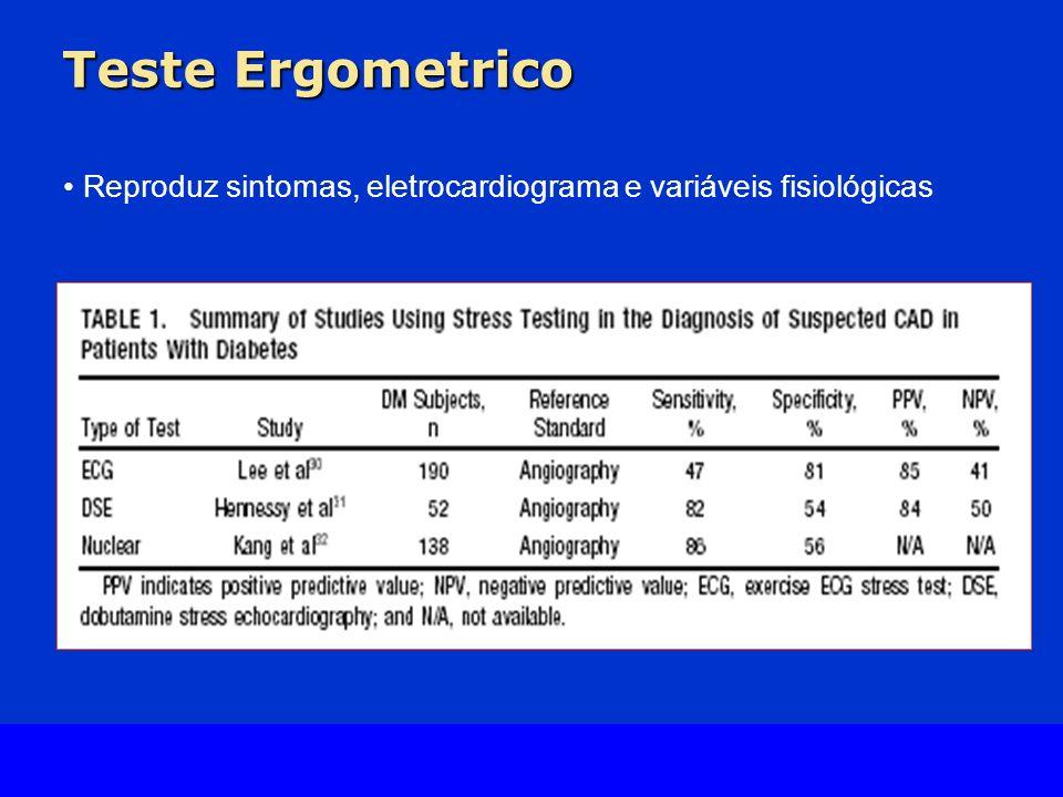 Teste Ergometrico Reproduz sintomas, eletrocardiograma e variáveis fisiológicas.