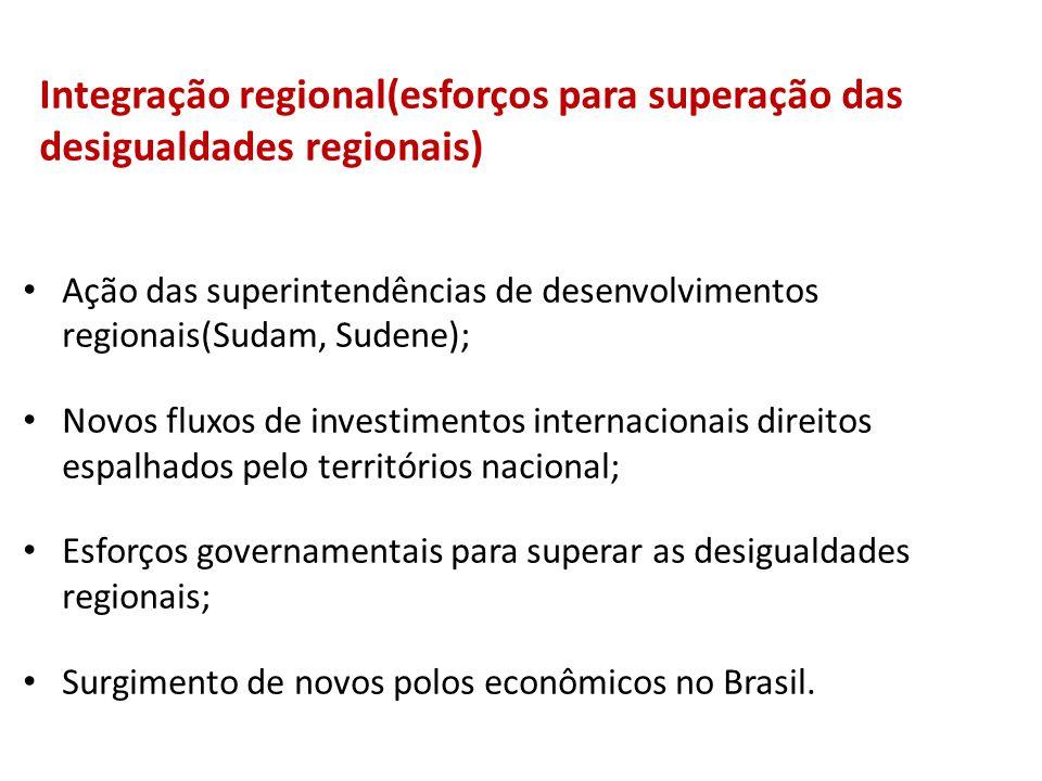 Integração regional(esforços para superação das desigualdades regionais)