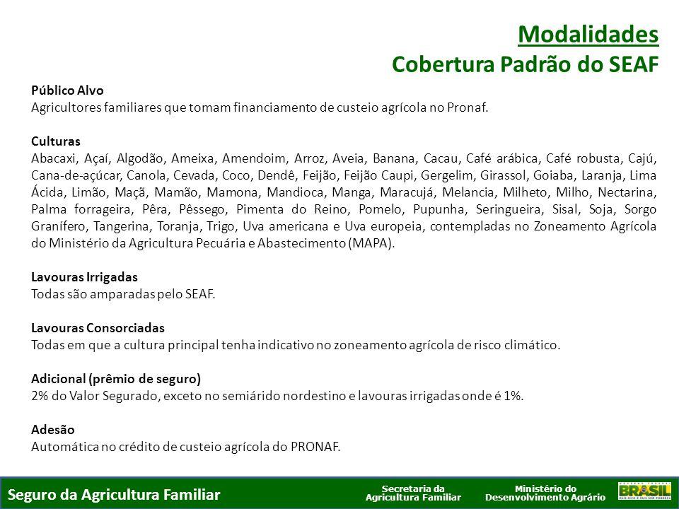 Modalidades Cobertura Padrão do SEAF Seguro da Agricultura Familiar