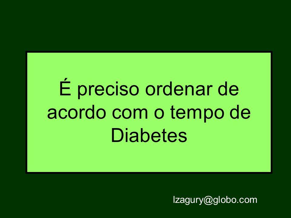 É preciso ordenar de acordo com o tempo de Diabetes