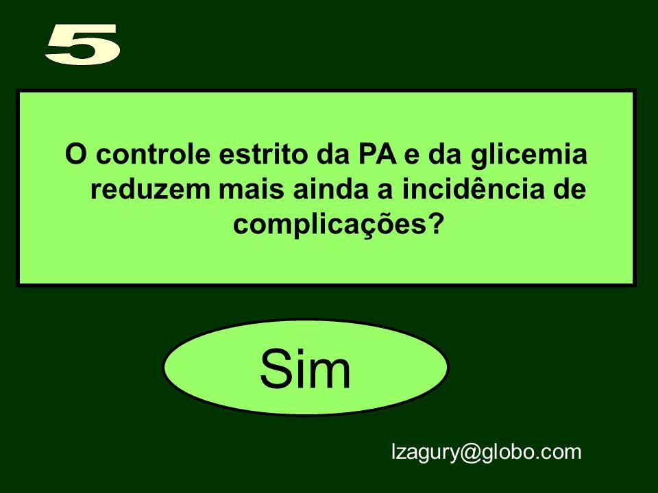 5 O controle estrito da PA e da glicemia reduzem mais ainda a incidência de complicações.