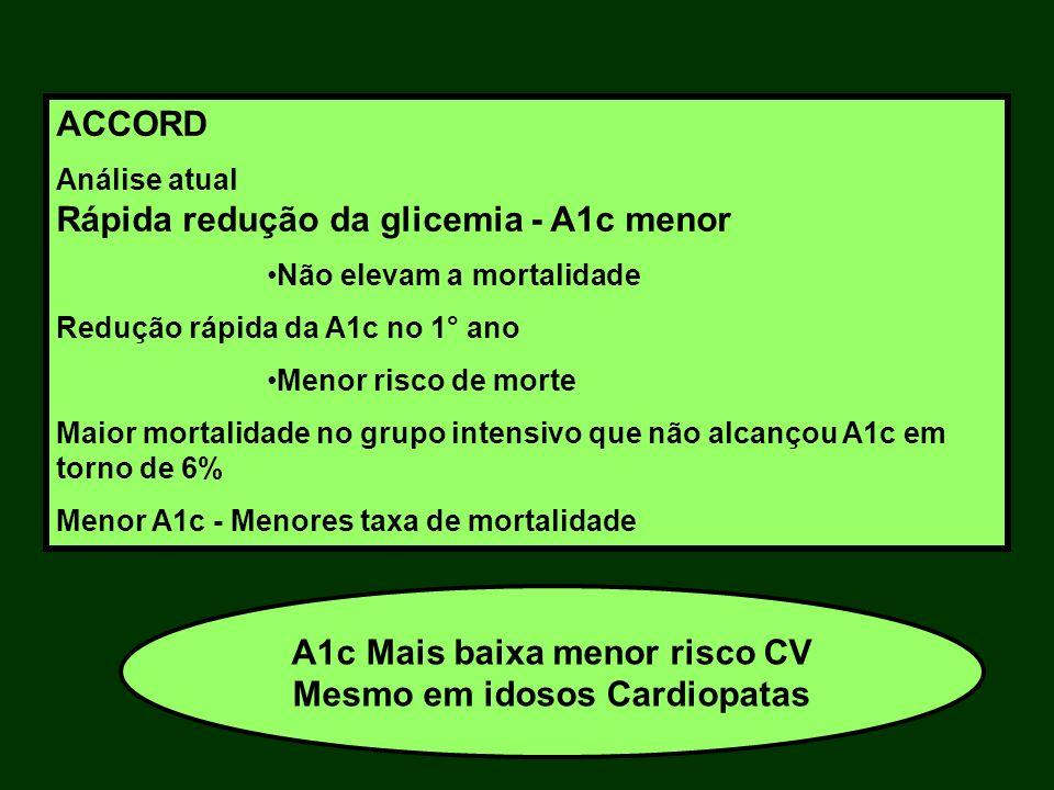 A1c Mais baixa menor risco CV Mesmo em idosos Cardiopatas