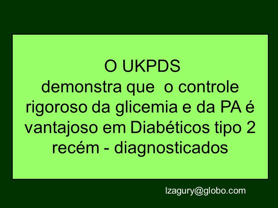 O UKPDS demonstra que o controle rigoroso da glicemia e da PA é vantajoso em Diabéticos tipo 2 recém - diagnosticados