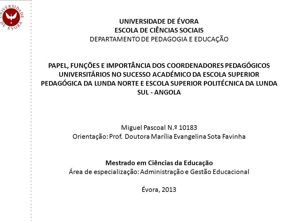 ESCOLA DE CIÊNCIAS SOCIAIS DEPARTAMENTO DE PEDAGOGIA E EDUCAÇÃO