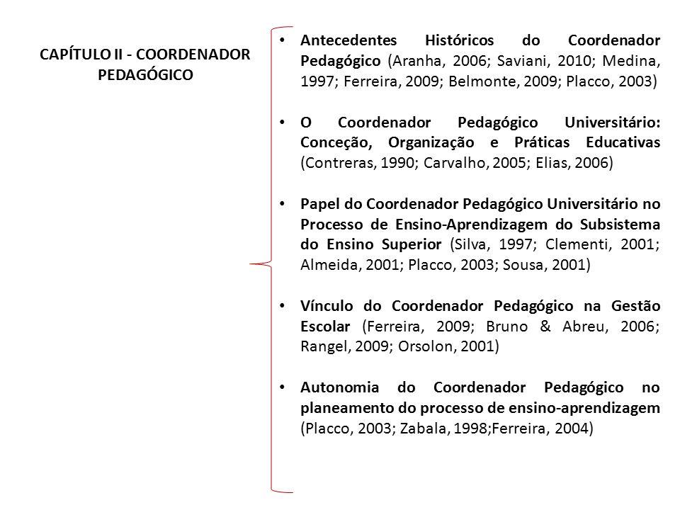 CAPÍTULO II - COORDENADOR PEDAGÓGICO