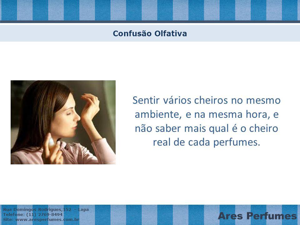 Confusão Olfativa Sentir vários cheiros no mesmo ambiente, e na mesma hora, e não saber mais qual é o cheiro real de cada perfumes.