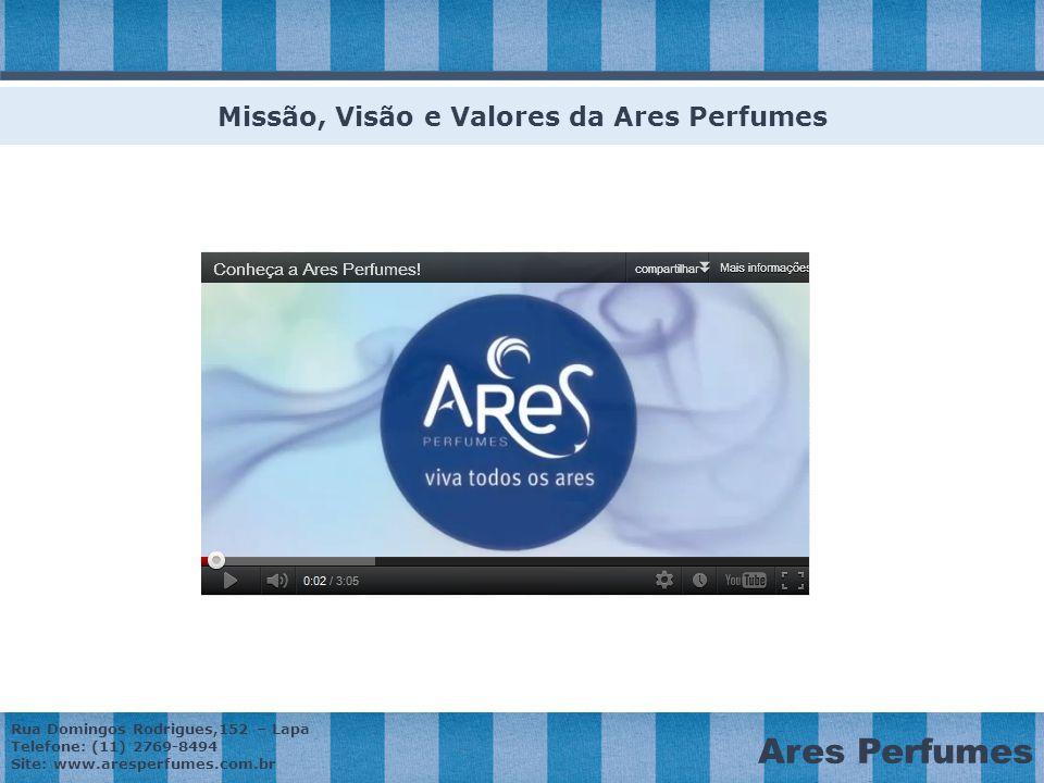 Missão, Visão e Valores da Ares Perfumes