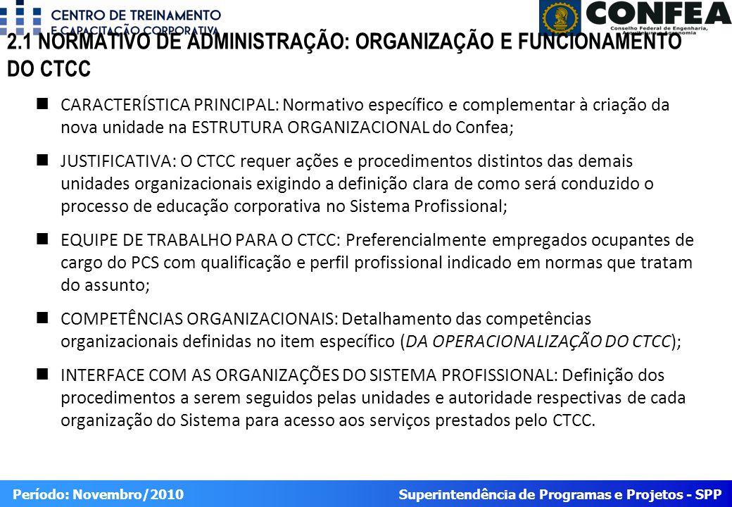 2.1 NORMATIVO DE ADMINISTRAÇÃO: ORGANIZAÇÃO E FUNCIONAMENTO DO CTCC