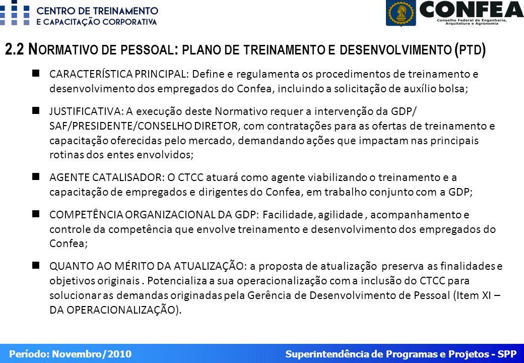 2.2 Normativo de pessoal: plano de treinamento e desenvolvimento (ptd)