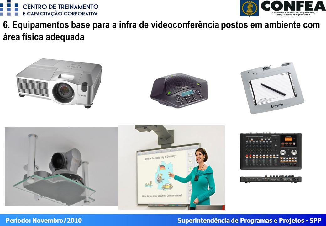 6. Equipamentos base para a infra de videoconferência postos em ambiente com área física adequada