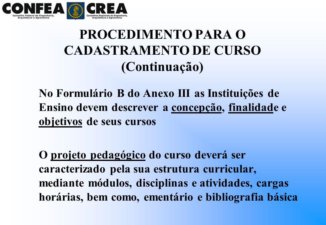 PROCEDIMENTO PARA O CADASTRAMENTO DE CURSO (Continuação)