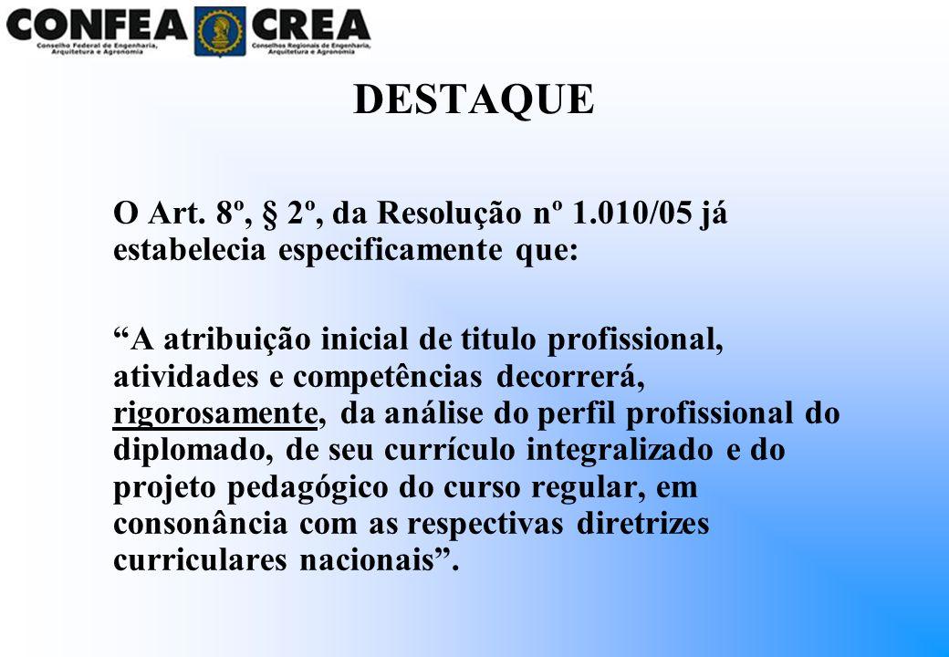 DESTAQUE O Art. 8º, § 2º, da Resolução nº 1.010/05 já estabelecia especificamente que: