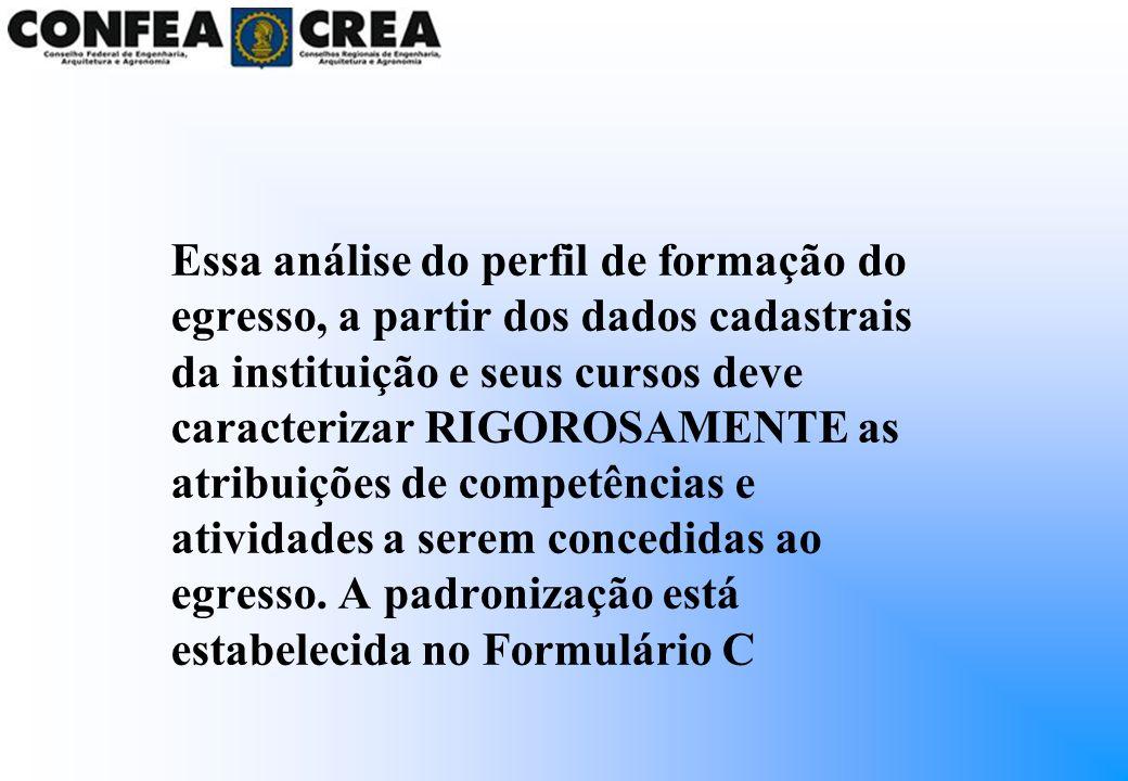 Essa análise do perfil de formação do egresso, a partir dos dados cadastrais da instituição e seus cursos deve caracterizar RIGOROSAMENTE as atribuições de competências e atividades a serem concedidas ao egresso.