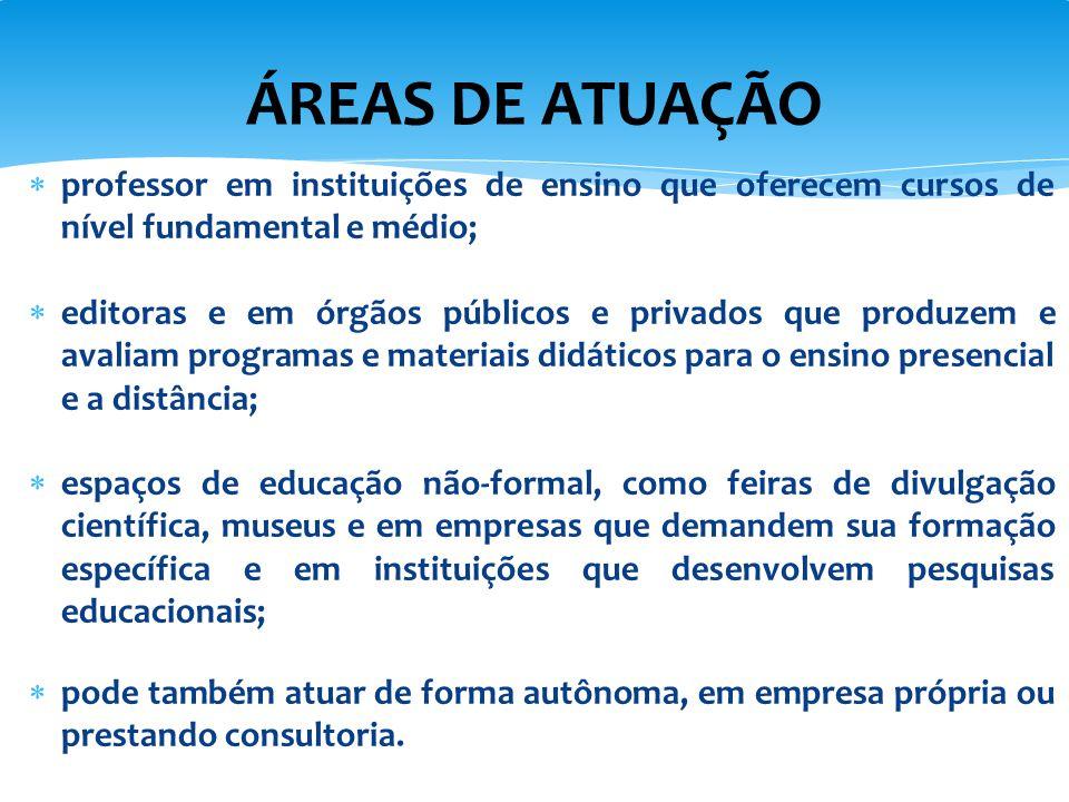 ÁREAS DE ATUAÇÃO professor em instituições de ensino que oferecem cursos de nível fundamental e médio;