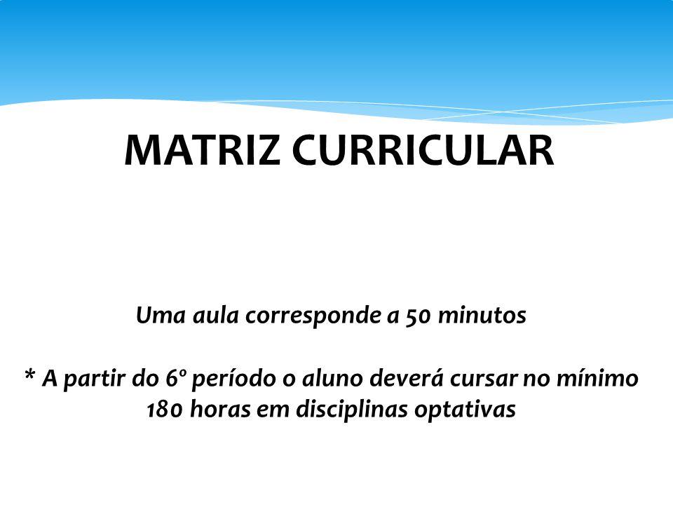 Uma aula corresponde a 50 minutos