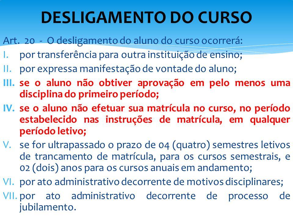 DESLIGAMENTO DO CURSO Art. 20 - O desligamento do aluno do curso ocorrerá: por transferência para outra instituição de ensino;