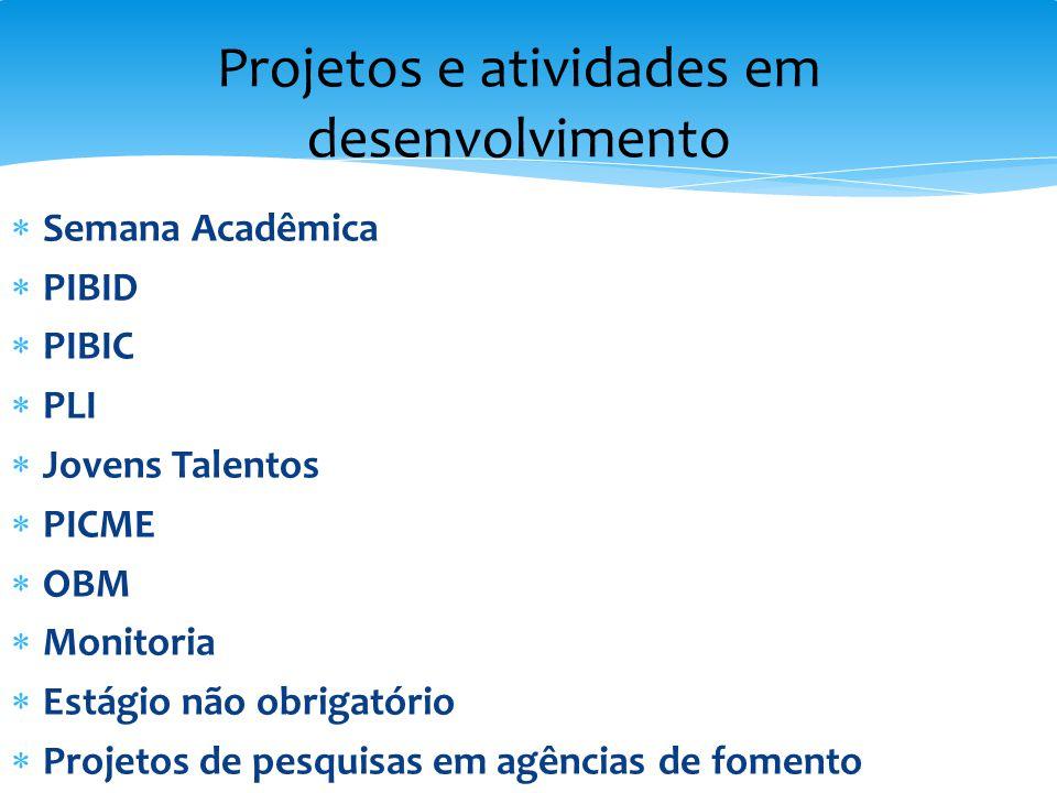 Projetos e atividades em desenvolvimento