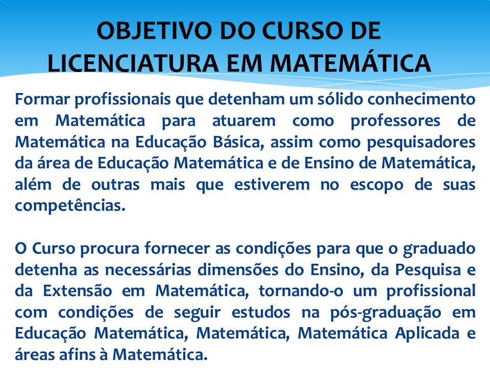OBJETIVO DO CURSO DE LICENCIATURA EM MATEMÁTICA