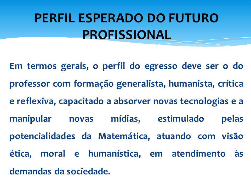 PERFIL ESPERADO DO FUTURO PROFISSIONAL