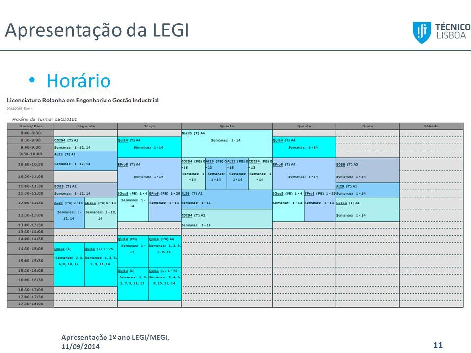 Apresentação da LEGI Horário Apresentação 1º ano LEGI/MEGI, 11/09/2014