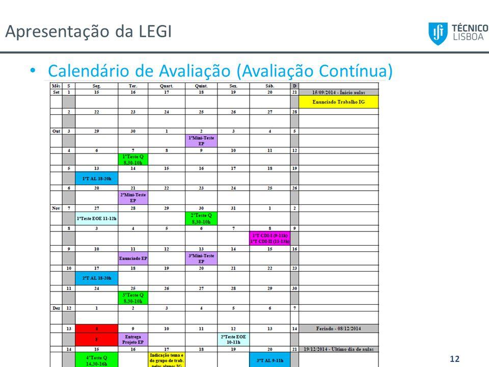 Calendário de Avaliação (Avaliação Contínua)