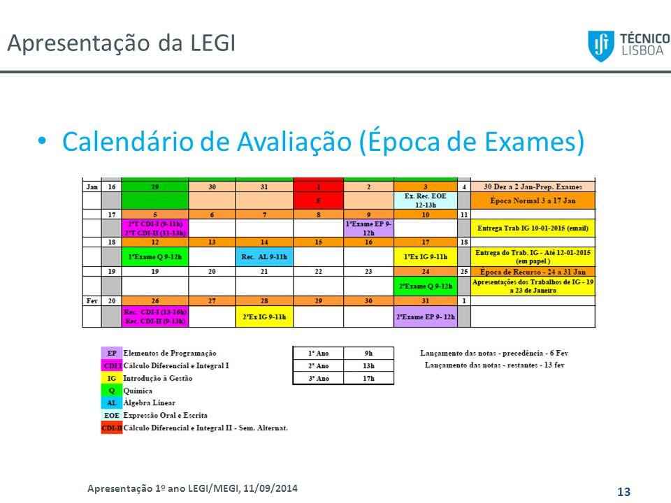 Calendário de Avaliação (Época de Exames)