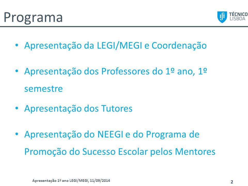 Programa Apresentação da LEGI/MEGI e Coordenação