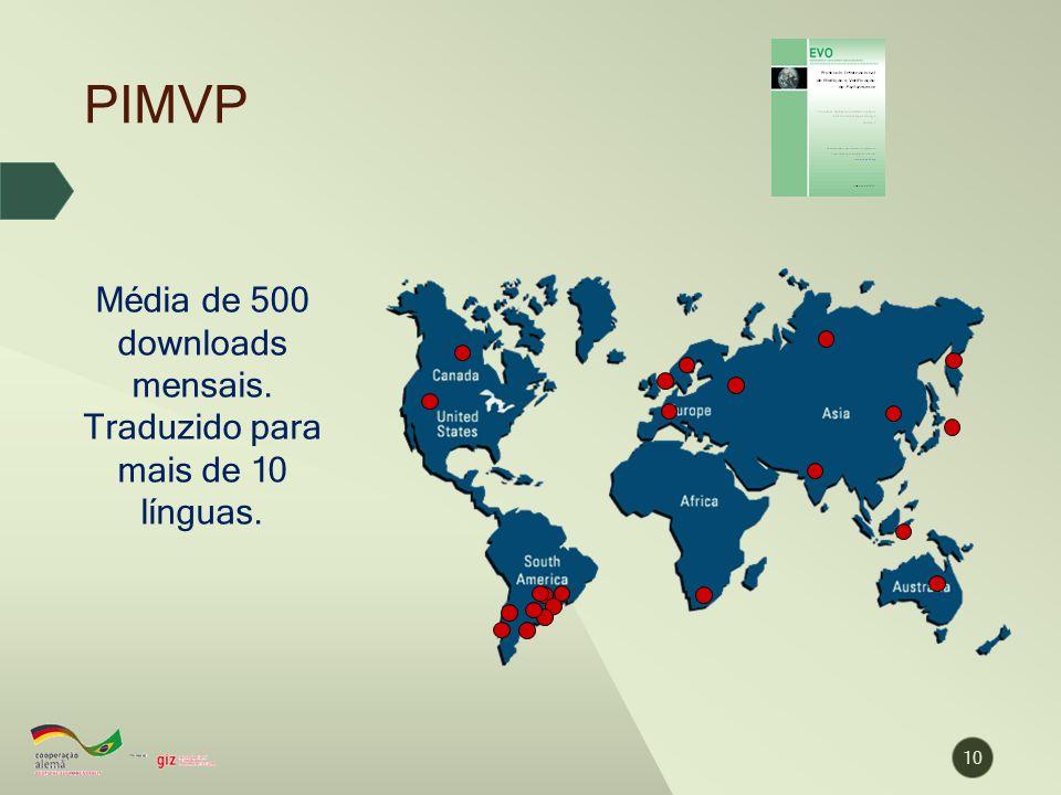 Média de 500 downloads mensais. Traduzido para mais de 10 línguas.