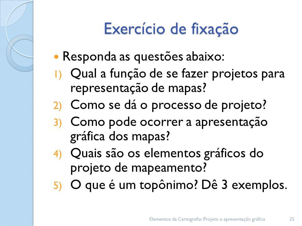 Exercício de fixação Responda as questões abaixo: