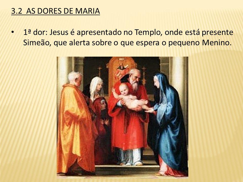 3.2 AS DORES DE MARIA 1ª dor: Jesus é apresentado no Templo, onde está presente Simeão, que alerta sobre o que espera o pequeno Menino.