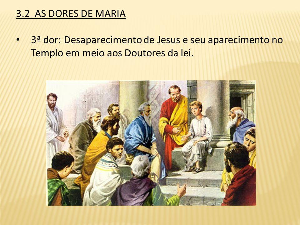 3.2 AS DORES DE MARIA 3ª dor: Desaparecimento de Jesus e seu aparecimento no Templo em meio aos Doutores da lei.