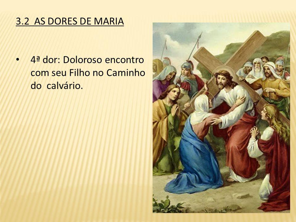 3.2 AS DORES DE MARIA 4ª dor: Doloroso encontro com seu Filho no Caminho do calvário.