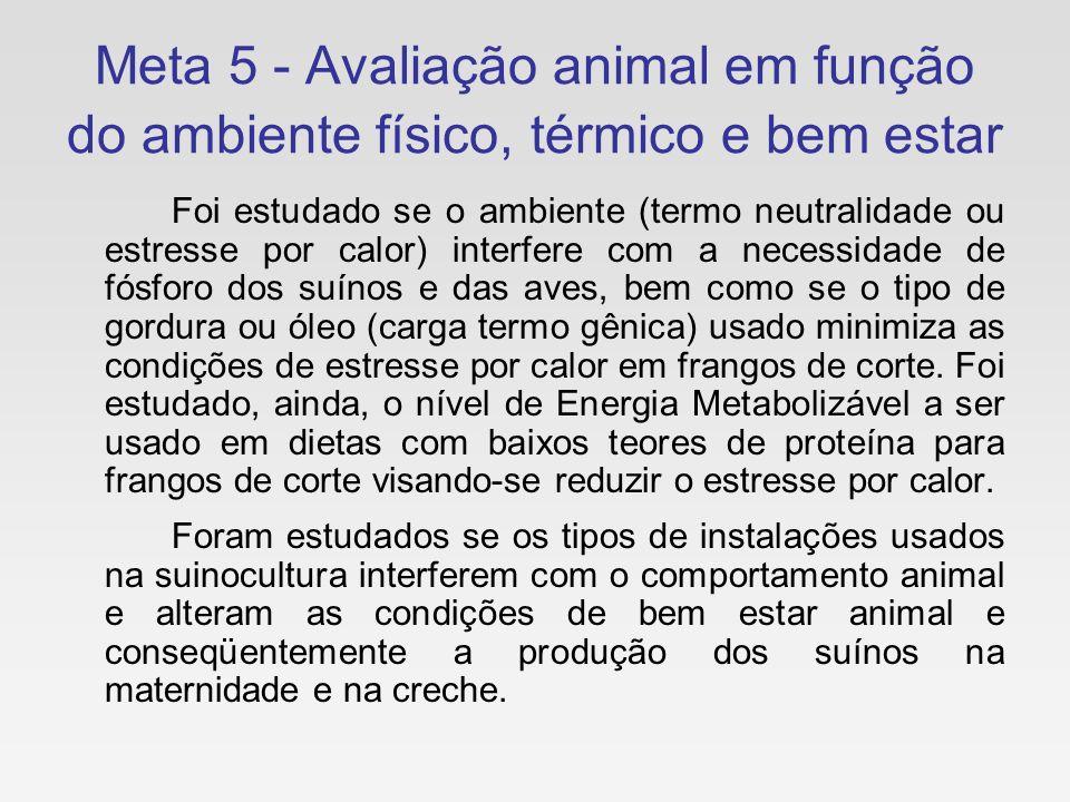 Meta 5 - Avaliação animal em função do ambiente físico, térmico e bem estar