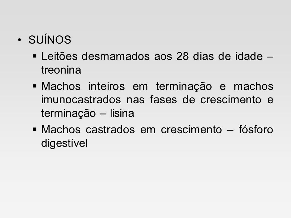 SUÍNOS Leitões desmamados aos 28 dias de idade – treonina.