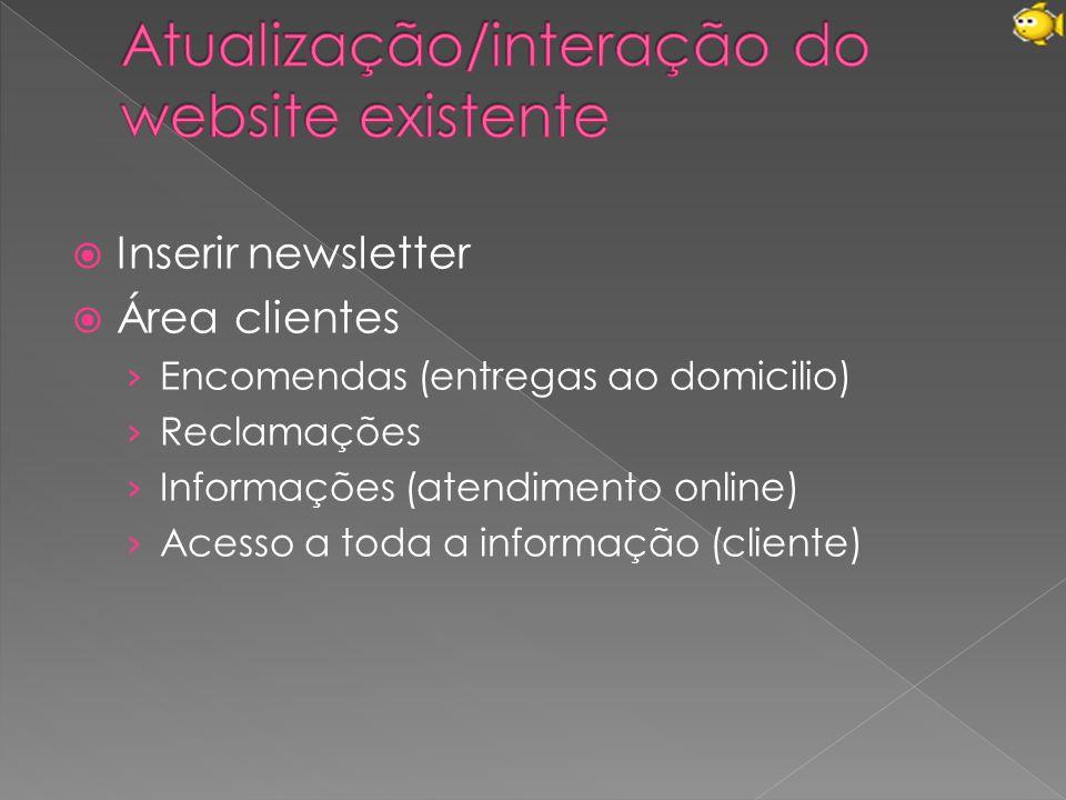 Atualização/interação do website existente