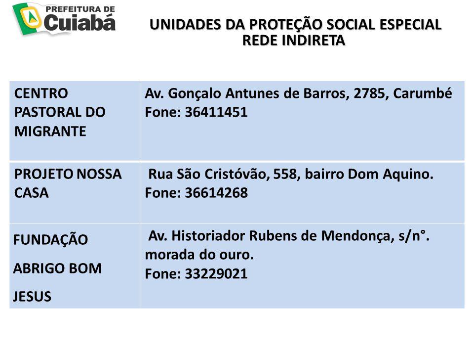UNIDADES DA PROTEÇÃO SOCIAL ESPECIAL REDE INDIRETA