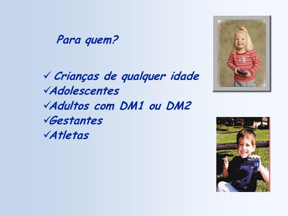 Para quem Crianças de qualquer idade Adolescentes Adultos com DM1 ou DM2 Gestantes Atletas