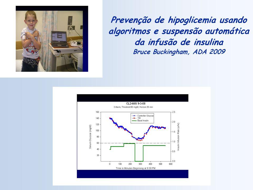 Prevenção de hipoglicemia usando algoritmos e suspensão automática da infusão de insulina