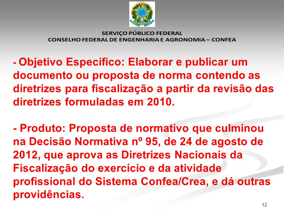 - Objetivo Específico: Elaborar e publicar um documento ou proposta de norma contendo as diretrizes para fiscalização a partir da revisão das diretrizes formuladas em 2010.