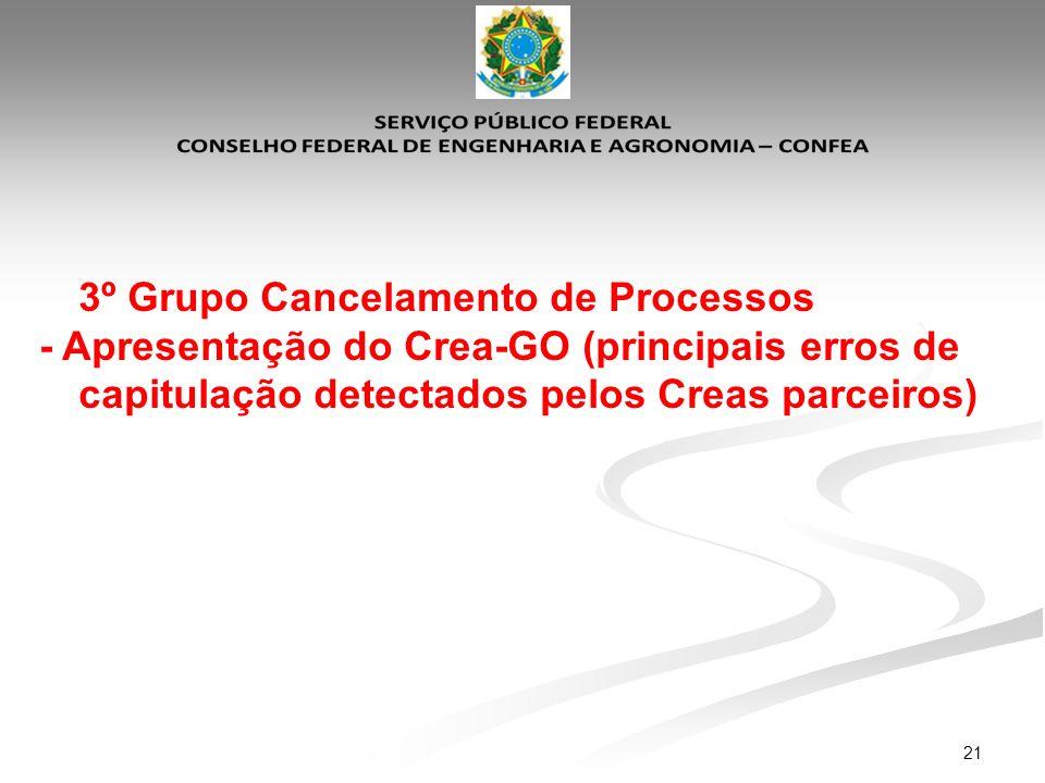3º Grupo Cancelamento de Processos