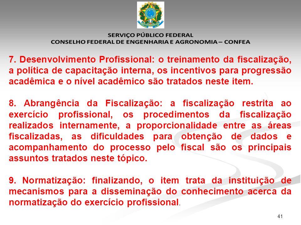 7. Desenvolvimento Profissional: o treinamento da fiscalização, a política de capacitação interna, os incentivos para progressão acadêmica e o nível acadêmico são tratados neste item.