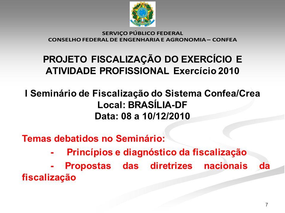 PROJETO FISCALIZAÇÃO DO EXERCÍCIO E ATIVIDADE PROFISSIONAL Exercício 2010 I Seminário de Fiscalização do Sistema Confea/Crea Local: BRASÍLIA-DF Data: 08 a 10/12/2010