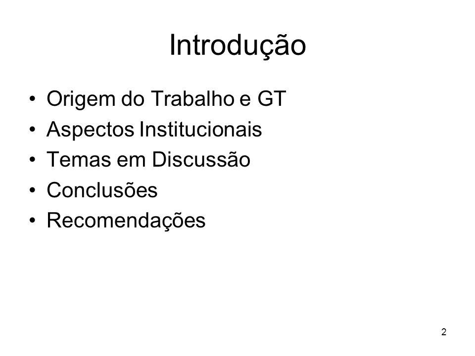 Introdução Origem do Trabalho e GT Aspectos Institucionais