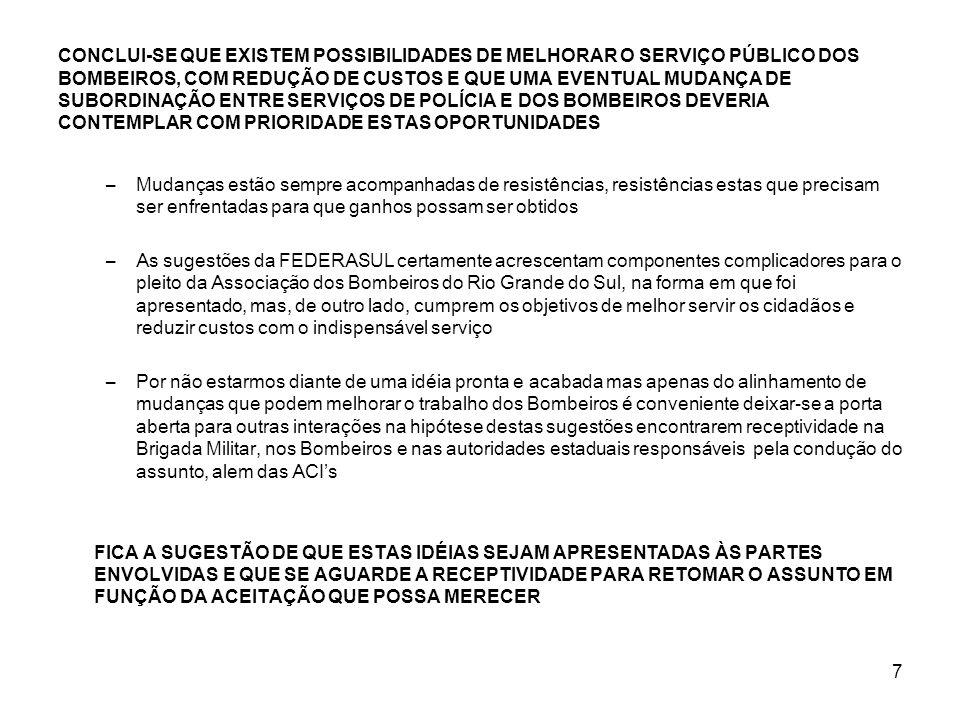 CONCLUI-SE QUE EXISTEM POSSIBILIDADES DE MELHORAR O SERVIÇO PÚBLICO DOS BOMBEIROS, COM REDUÇÃO DE CUSTOS E QUE UMA EVENTUAL MUDANÇA DE SUBORDINAÇÃO ENTRE SERVIÇOS DE POLÍCIA E DOS BOMBEIROS DEVERIA CONTEMPLAR COM PRIORIDADE ESTAS OPORTUNIDADES