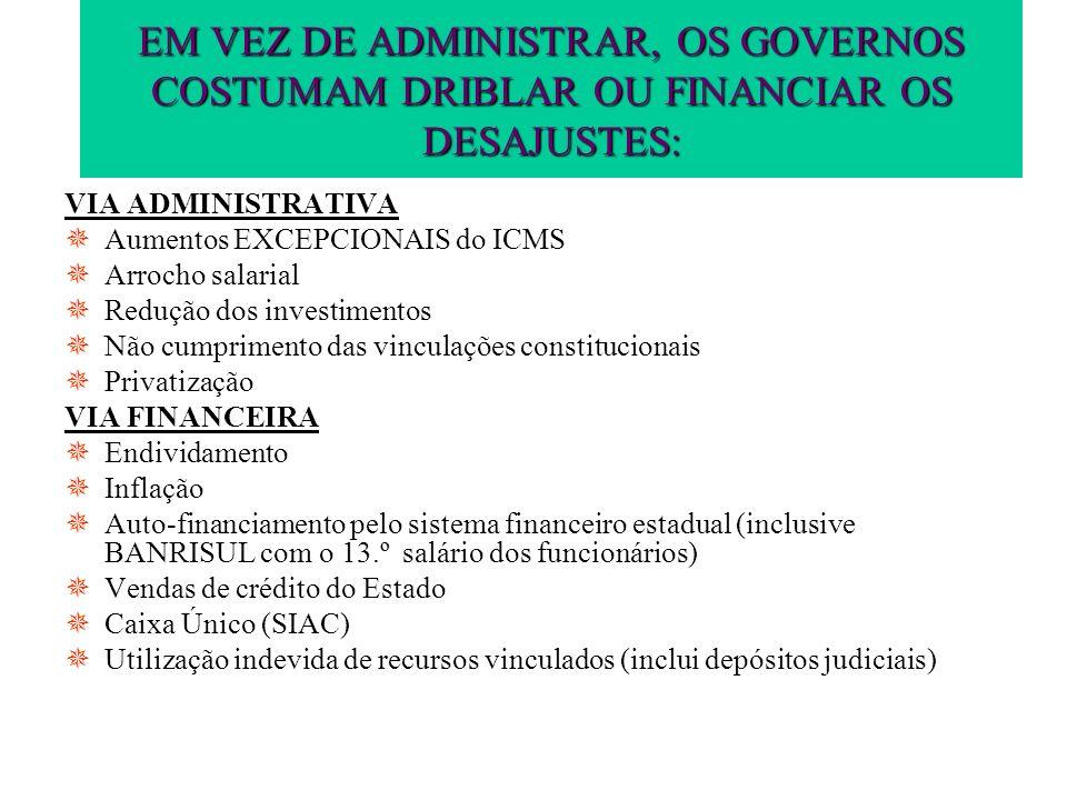 EM VEZ DE ADMINISTRAR, OS GOVERNOS COSTUMAM DRIBLAR OU FINANCIAR OS DESAJUSTES: